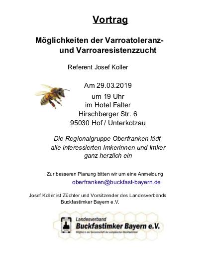 Einladung zum Vortrag - Regionalteam Oberfranken 29. März 2019